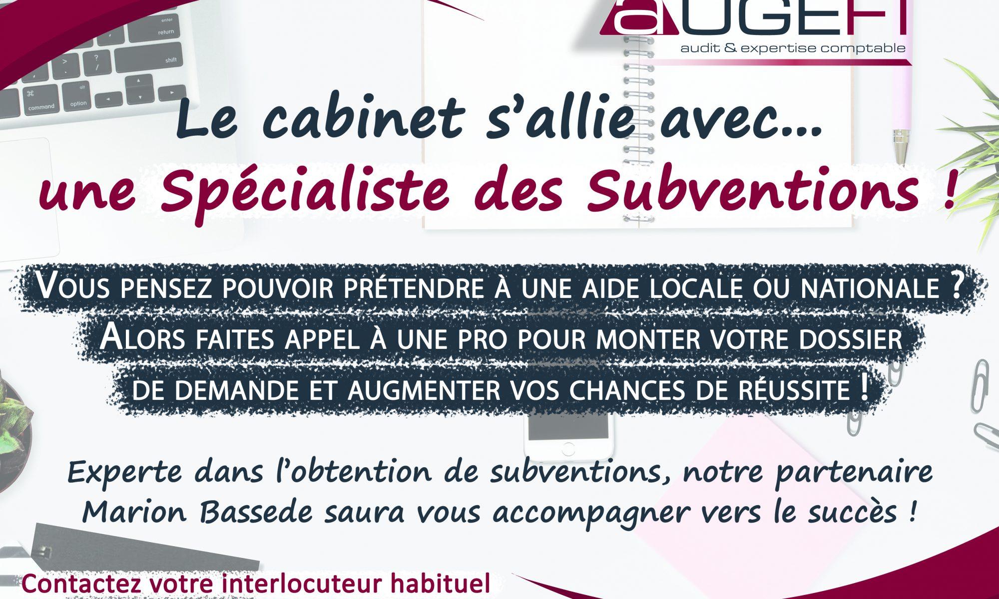Partenariat Augefi avec Marion Bassede Spécialiste des subventions